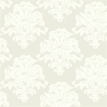 Grey & White Commercial Damask Wallpaper