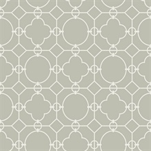Grey & White Commercial Lattice Wallpaper