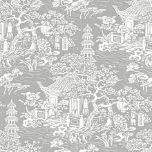 Grey & White Commercial Oriental Scenic Wallpaper