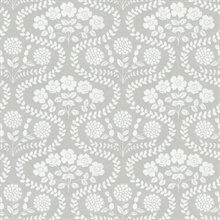 Grey & White Folksy Floral Wallpaper