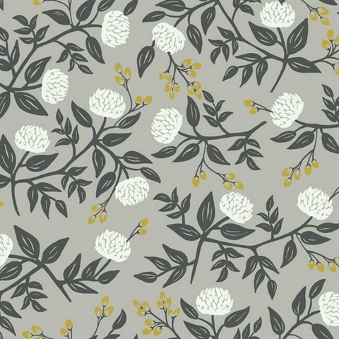 Grey & White Large Scale Floral Peonies Rifle Paper Wallpaper