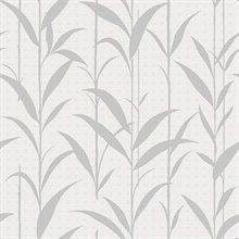 Grey & White Seagrass Leaves Wallpaper