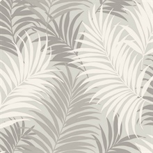 Grey & White Tropical Large Palm Leaf Wallpaper