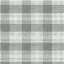 Grey Woven Buffalo Check Plaid Wallpaper
