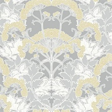 Grey & Yellow Yarrow Nouveau Wallpaper