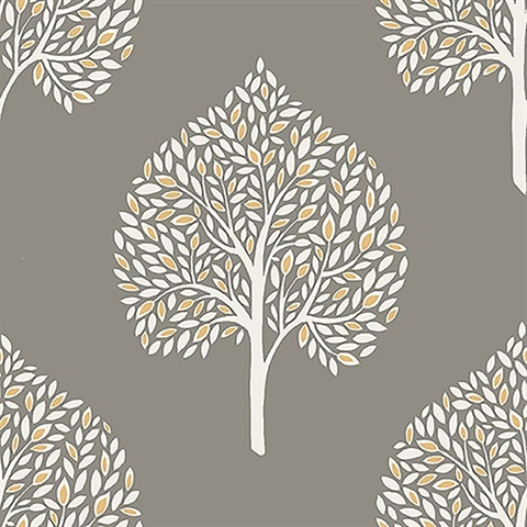 Grove Grey Tree Wallpaper