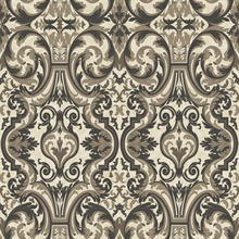 Guinevere Black Baroque Marquetry Wallpaper