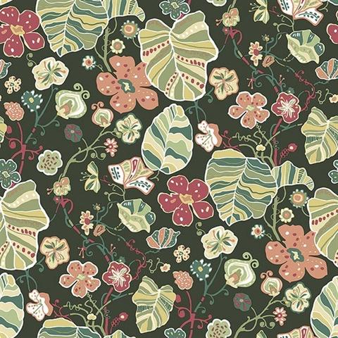 gwyneth dark green boho chic pop floral qygx l