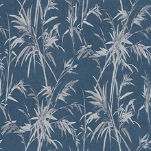 Hali Blue Leaf Reeds Wallpaper