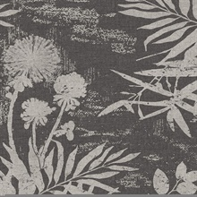 Hedda Black Botanical Wallpaper
