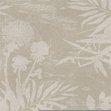 Hedda Taupe Botanical Wallpaper