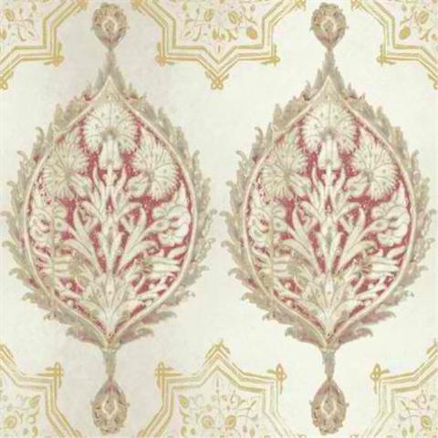 Ve7025 Henna Palm Ogee Wallpaper Boulevard