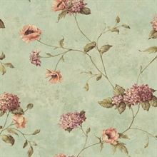 Henrietta Blue Hydrangea Floral Trail Wallpaper