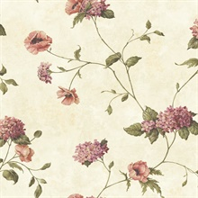 Henrietta Grey Hydrangea Floral Trail Wallpaper