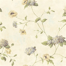 Henrietta Rose Hydrangea Floral Trail Wallpaper