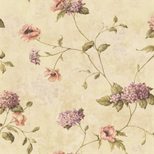 Henrietta Wheat Hydrangea Floral Trail Wallpaper