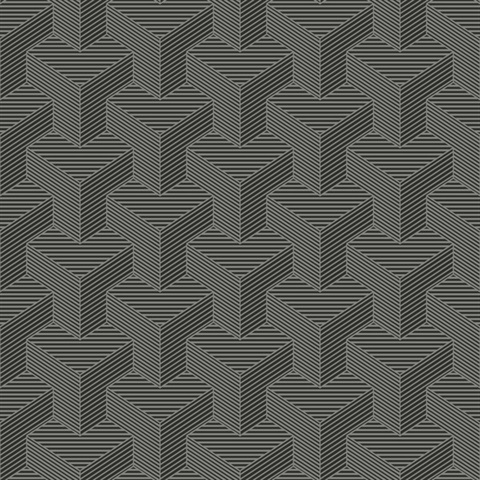 Hexahedron Wallpaper - Gunmetal