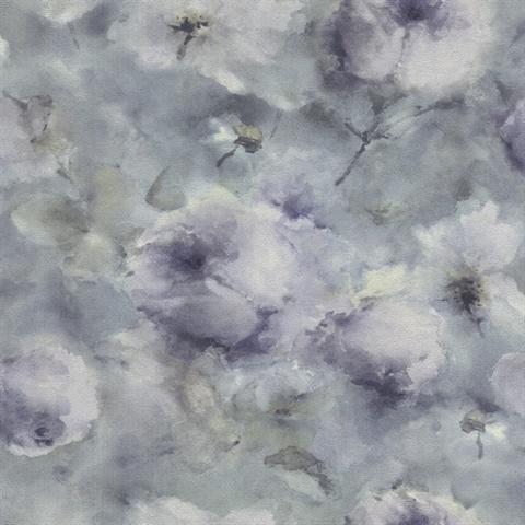 Innocent Blue Watercolor Floral Wallpaper