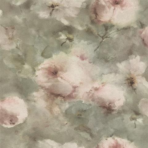Innocent Light Brown Watercolor Floral Wallpaper