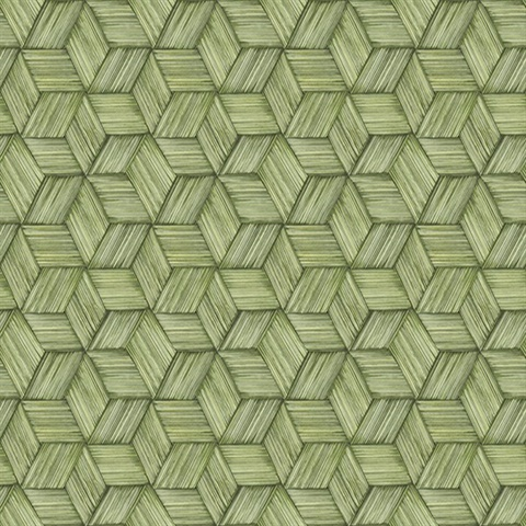 Intertwined Green Geometric Wallpaper