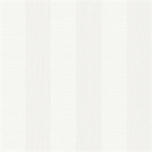 Intrepid White Faux Grasscloth Vertical Stripe Wallpaper