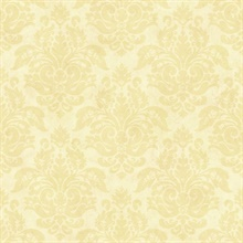 Isabelle Sand Floral Damask Wallpaper