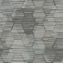 Jabari Charcoal Geometric Faux Grasscloth Wallpaper