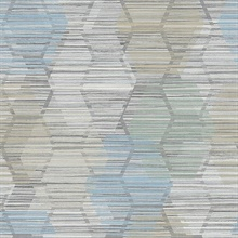 Jabari Light Blue Geometric Faux Grasscloth Wallpaper