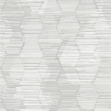 Jabari Light Grey Geometric Faux Grasscloth Wallpaper