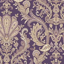 Jacobean Purple Metallic Gold Paisley Wallpaper