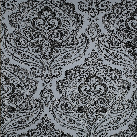 Jamilah Light Blue Damask Wallpaper