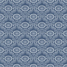 Jubilee Blue Medallion Damask Wallpaper