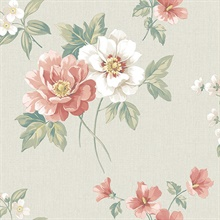 Keighley Coral Floral Wallpaper