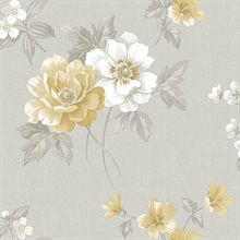 Keighley Grey Floral Wallpaper