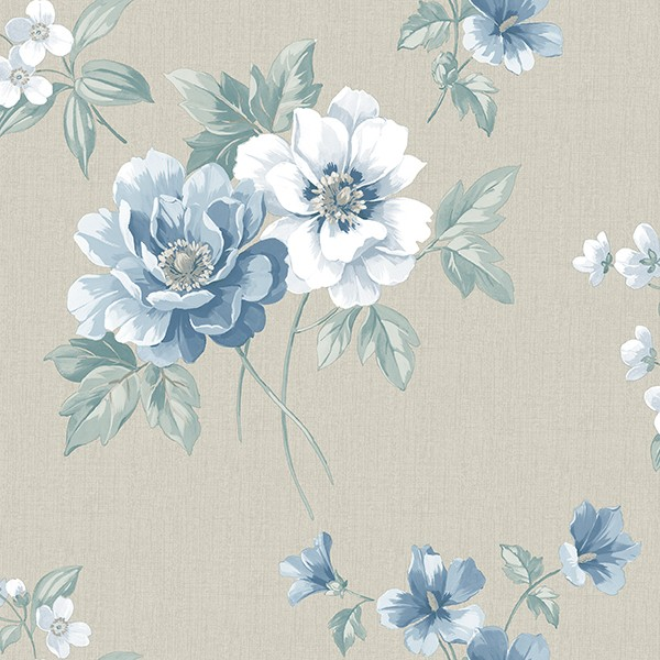 3112 002757 Keighley Light Blue Floral Wallpaper