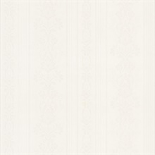 Kensington White Damask Stripe