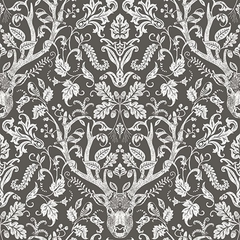 Kiwassa Brown Antler Damask