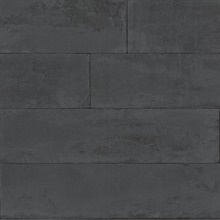 Lanier Black Stone Plank Textured Wallpaper