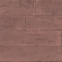 Lanier Oxblood Red Stone Plank Textured Wallpaper