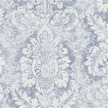 Large Damask Blue & White Wallpaper