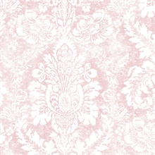 Large Damask Pink & White Wallpaper