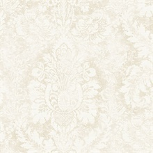 Large Damask Taupe & Cream Wallpaper
