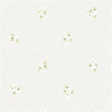 Laurel Spots Green, White & Grey Wallpaper