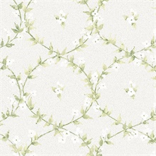 Laurel Vines Green, White & Grey Wallpaper