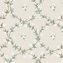 Laurel Vines Turquoise, White & Grey Wallpaper