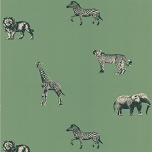 Leo Green Safari Animals Wallpaper