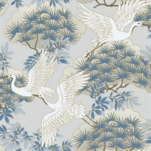 Light Blue Sprig & Heron Wallpaper