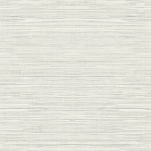 Light Grey Faux Grasscloth With Horizontal Textile Strings Wallpaper