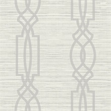 Light Grey Large Trellis On Faux Grasscloth With Horizontal Textile St