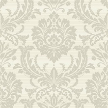Light Grey & Off White Commercial Damask Wallpaper